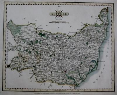 SUFFOLK IPSWICH NEEDHAM   BY JOHN CARY GENUINE ANTIQUE MAP  c1793