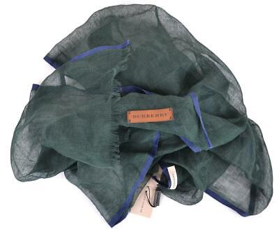 Burberry $325 Green and Blue Linen Cotton Nova Check Leather Logo Crinkle Scarf