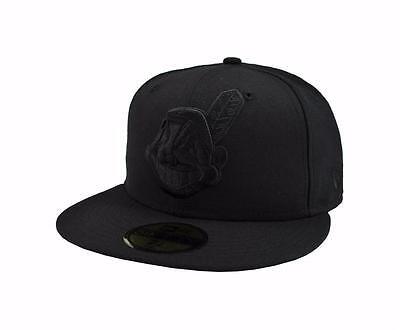 New Era 59Fifty MLB Baseball Cap Cleveland Indians Black Fitted Wool 5950 Hat Cleveland Indians Baseball Hat