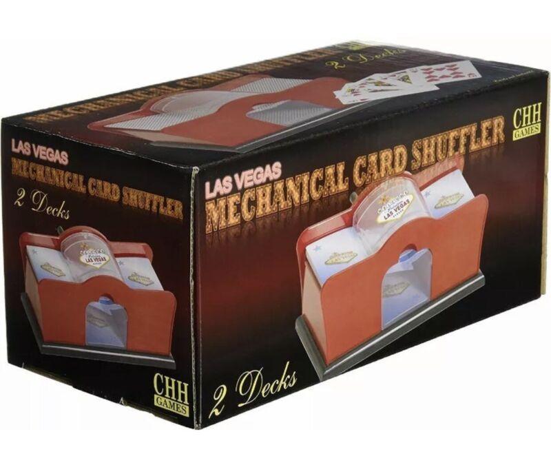 Hand Crank Manual Card Shuffler 1 or 2 Deck Casino Poker Blackjack Bridge UNO