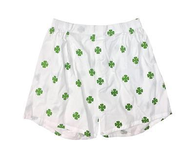 Patricks Day Boxer Shorts (NEW St. Patrick's Day 4 Leaf Clover Boxer LUCKY Shorts Underwear Men S)