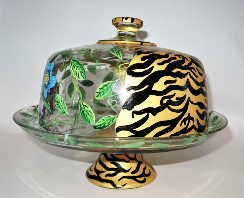 Hand Painted Glass Pedestal Covered Cake Stand Lynn Chase Inspire Leopard Floral