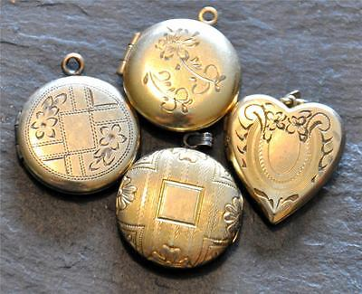 4 Antique Victorian Edwardian Yellow Gold Filled Locket Pendant GF Heart Lot
