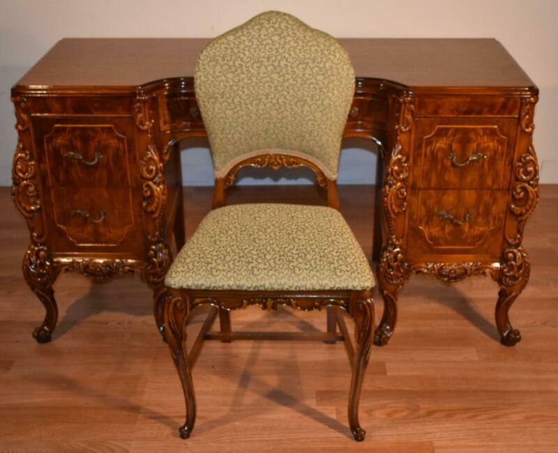 1910s Antique French carved Burl Walnut vanity Desk / Ladies Desk & Walnut Chair