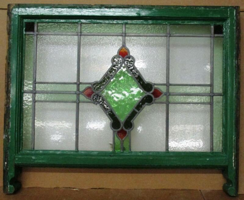 "EDWARDIAN ENGLISH LEADED STAINED GLASS SASH WINDOW Diamond Center 28"" 20"" -23.5"""