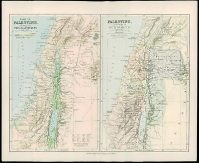 1900 Original Antique Colour Map PALESTINE Old & New Israel Haifa Yafa (20)