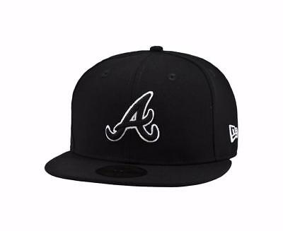 New Era 59Fifty Cap MLB Atlanta Braves Mens Black White Custom Fitted 5950 Hat 59fifty Mens Fitted Hat Cap
