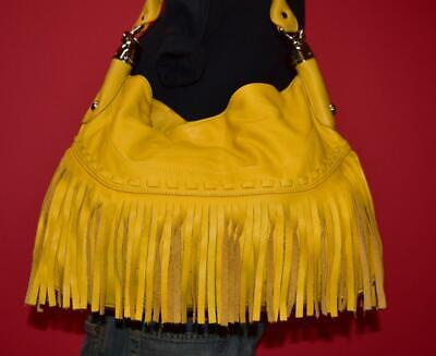 B. MAKOWSKY Yellow Sumptuous Leather Fringe Large Shoulder Hobo Purse Bag