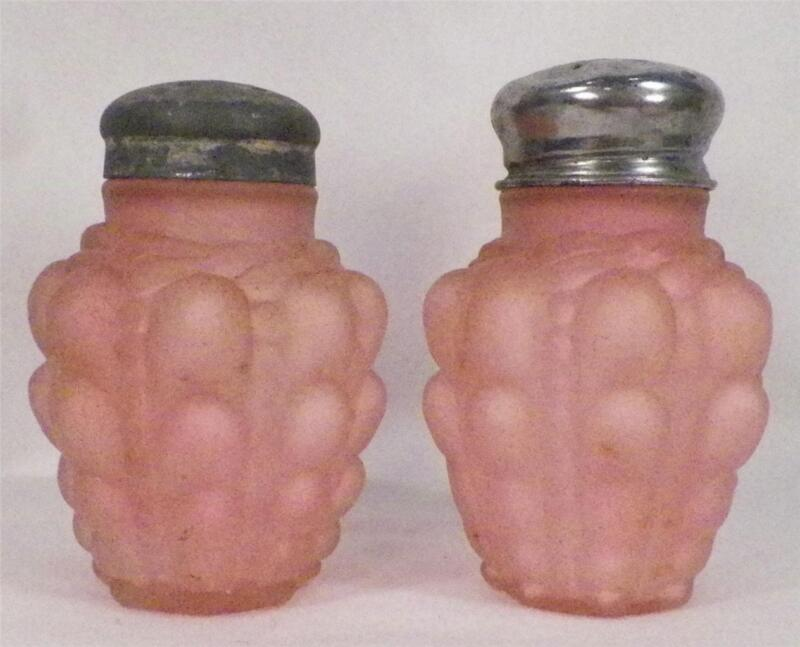 Antique Salt & Pepper Shakers Guttate Pink Satin Glass Consolidated Co. EAPG