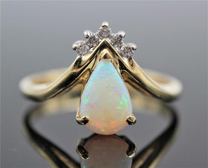 ESTATE 14K SOLID GOLD PEAR SHAPE OPAL & 5 AUTHENTIC DIAMONDS SIZE 6.5 RING