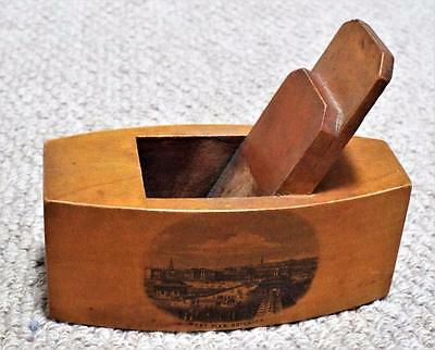 West Pier - Brighton - Antique Mauchline Ware Match Box Holder c1870