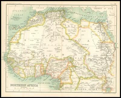 c1912 Map of NORTHERN AFRICA Chart Regions (BS51)