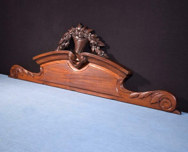 "*42"" French Antique Solid Mahogany Wood Pediment, Crown or Crest"