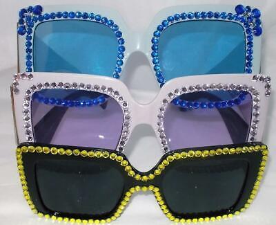SUN GLASSES 3 LOVELY SQUARE SHAPED ELTON JOHN STYLE BLACK PURPLE BLUE FREE (Elton John Purple Glasses)