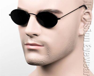 Small Oval Round Metal John Lennon Vintage Style Sunglasses Super Dark Black (Black Lennon Sunglasses)