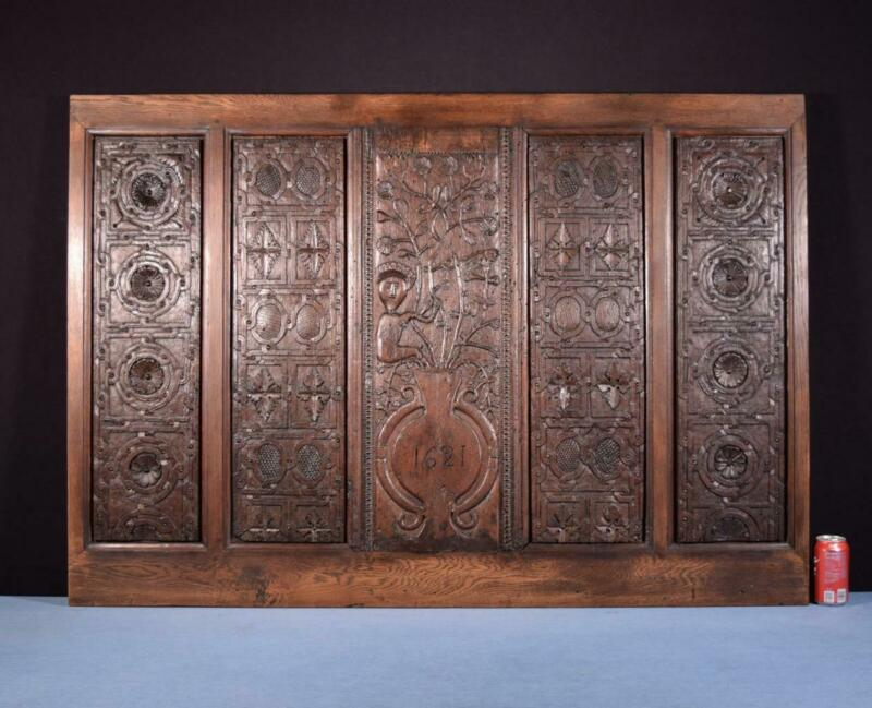 *17th Century Antique French Highly Carved Panel in Oak Wood Salvage 1621