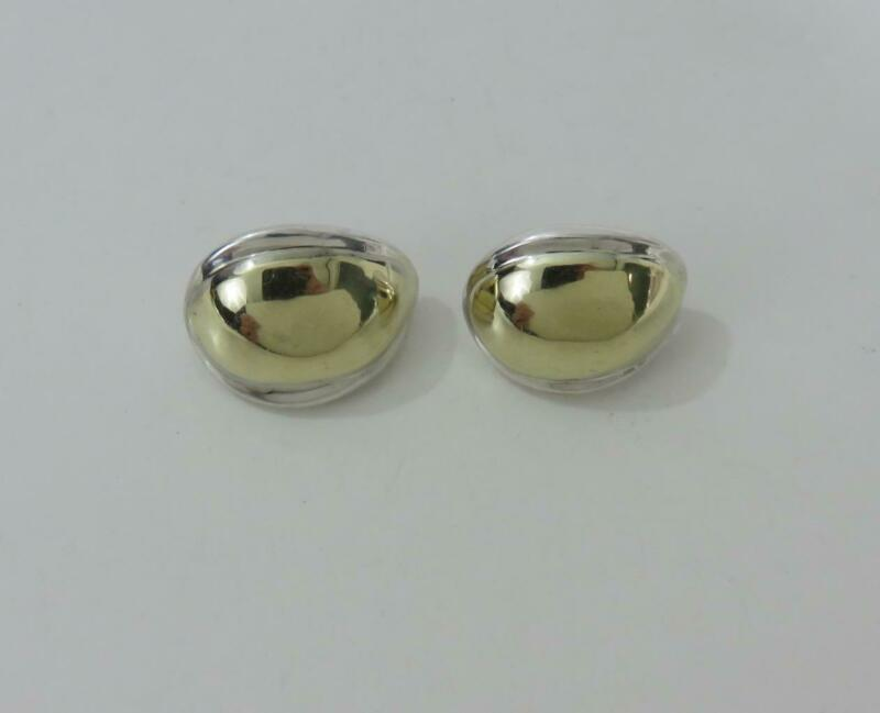 Zina of Beverly Hills Sterling Silver & 14K Yellow Gold Earrings Modernist 25g
