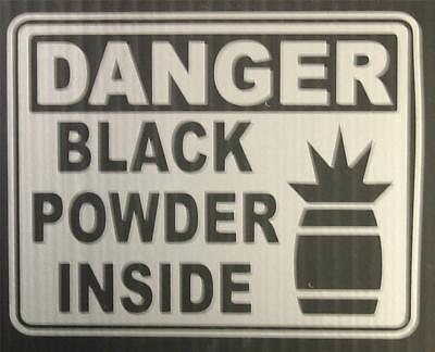 "DANGER Black Powder Inside - 4"" Silver Decal for Gun Safe"