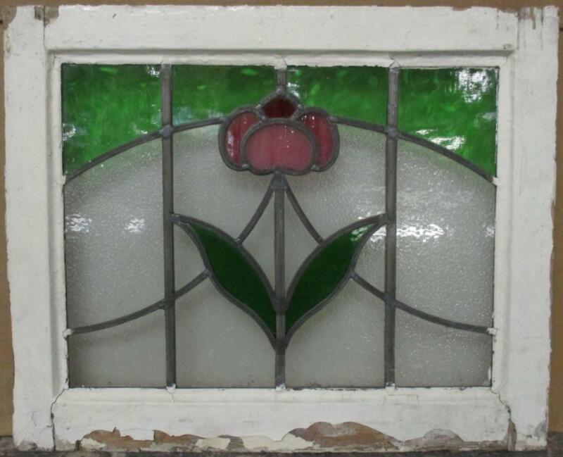"""OLD ENGLISH LEADED STAINED GLASS WINDOW Stunning Floral Sweep 20.5"""" x 17"""""""