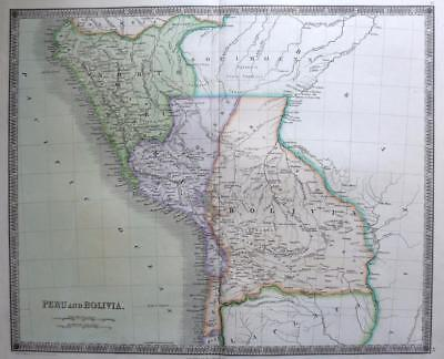 PERU BOLIVIA SOUTH AMERICA   DOWER TEESDALE  ORIGINAL HAND COLOUR c1844