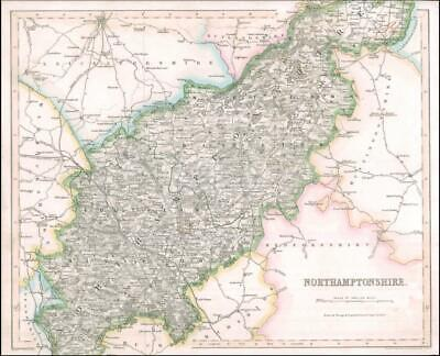 1842 Engraved Map of NORTHAMPTONSHIRE by Fisher (FM2/22)