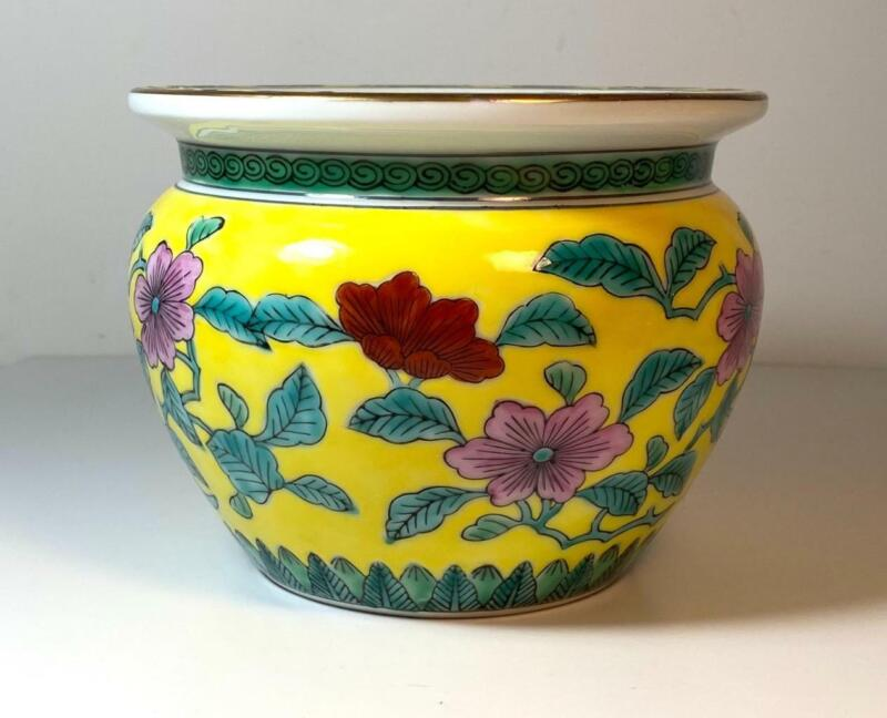 Hand Painted Porcelain Bright Yellow Chinese Planter Pot Pink/Red Flowers Marked