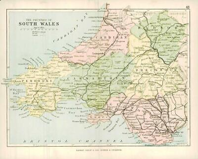 c1883 COUNTIES OF SOUTH WALES MAP By George Philip (PC38)