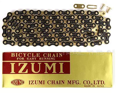Izumi Jet Black Gold 1 2 X 1 8 116L Bmx Track Fixed Gear Single Speed Bike Chain