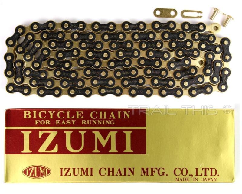 Izumi Jet Black Gold 1/2 x 1/8 116L BMX Track Fixed Gear Single-Speed Bike Chain