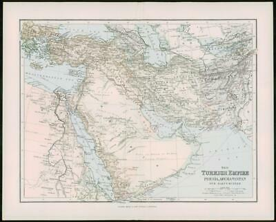 1903 Original Antique Colour Map - TURKEY EMPIRE PERISA AFGHANISTAN (26)
