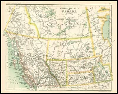 c1912 Map of the WESTERN PROVINCES OF CANADA Chart Regions (BS60)