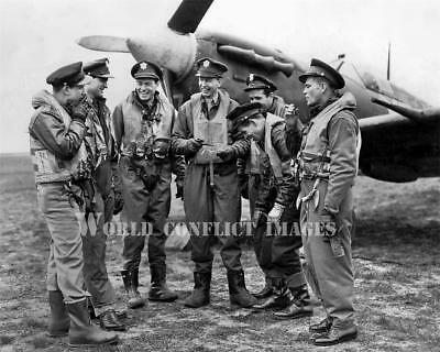 USAAF WW2 Spitfire Fighter Pilots 8x10 Photo 4th FG RAF Debden (Ww2 Fighter Pilots)