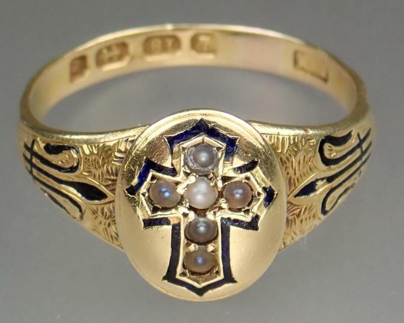 Antique Victorian Gothic 18K Gold Blue Enamel Pearl Cross Memento Mori Ring 7.25