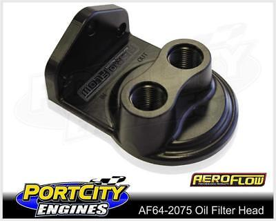 "Aeroflow Billet Remote Oil Filter Head Top Entry 3/4"" -16 Thread AF64-2075"