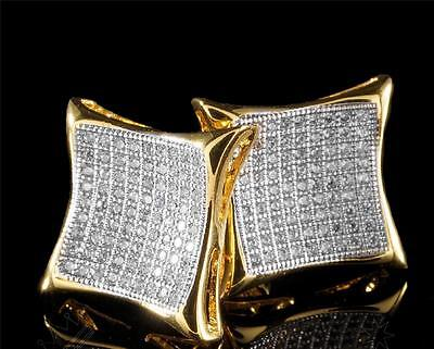 14K Gold Large Simulate Lab Diamond Micro pave Grade AAA Square Kite Earrings Diamond Micro Pave Square