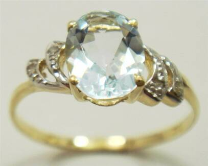 9K YELLOW GOLD NATURAL AQUAMARINE & DIAMOND RING - SIZE 7 Slacks Creek Logan Area Preview