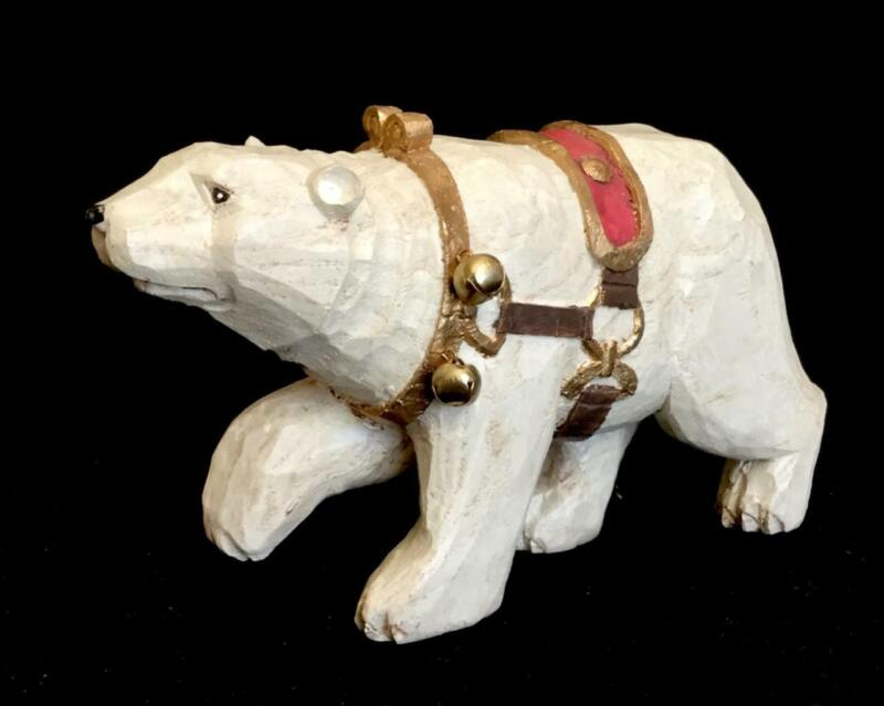 VINTAGE CHRISTMAS HANDCARVED WOOD FOLK ART POLAR BEAR WITH BELLS