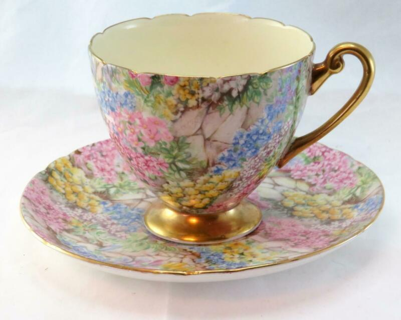 "Vtg Shelley  ""Rock Garden"" Chintz Ripon Shaped Tea Cup & Saucer  #13385 England"