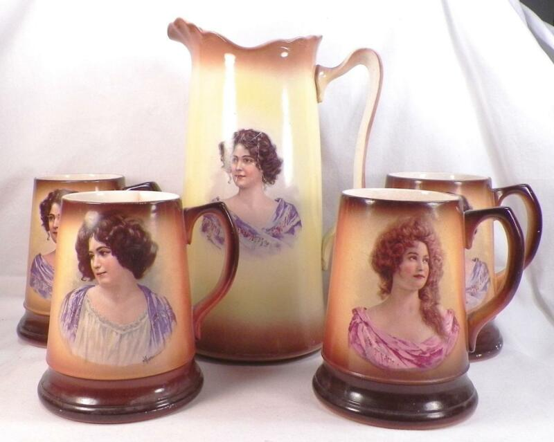 Antique Tankard Set Victorian Ladies Pitcher 4 Mugs Whiteware Avon E Vettori