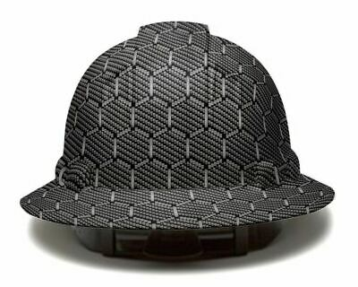 Hexagon Carbon Fiber Pyramex Full Brim Hard Hat Custom Hydro Dipped Safety Helme