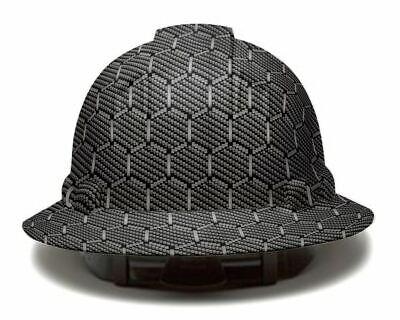 Hexagon Carbon Fiber Pyramex Full Brim Hard Hat Custom Hydro Dipped Safety Helme