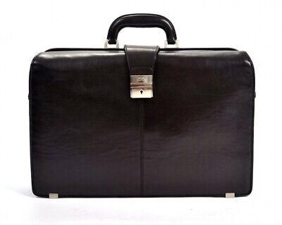 Mens Leather Lawyers Laptop Briefcase Top Handle Italian Leather by Tony Perotti ()