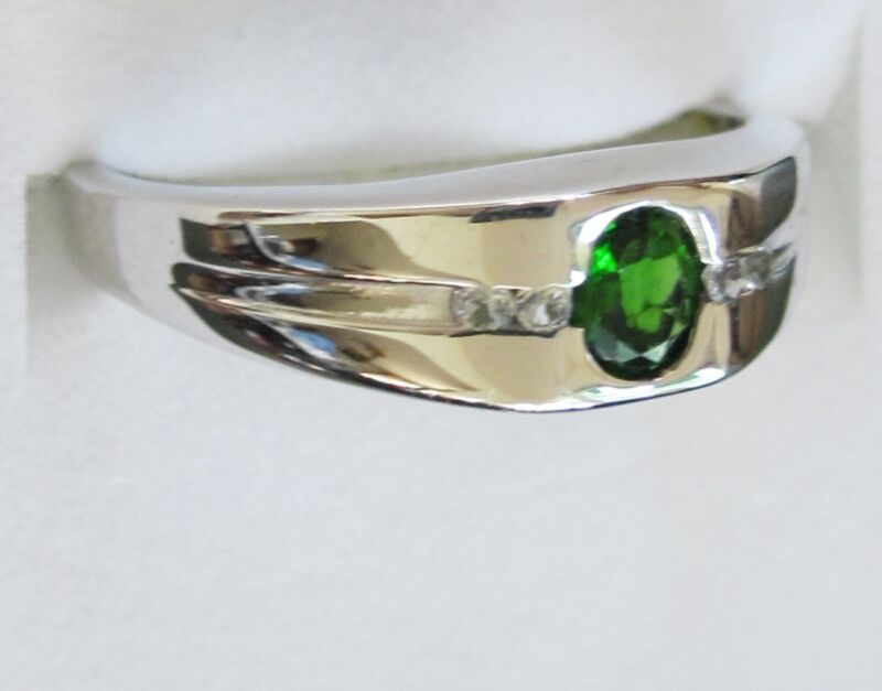 Men's Chrome Diopside & White Topaz Ring in Sterling Silver, size 11