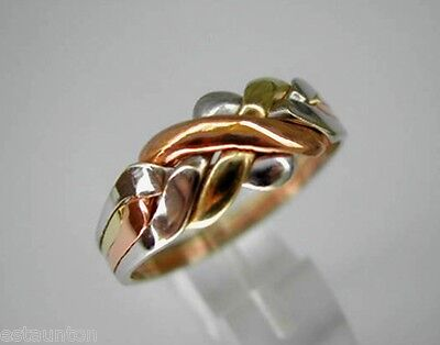 14k Tri Color Band Ring (Tri-Color Gold 14k  Solid 4 Band Turkish Puzzle Ring - SHIP FREE EVERYWHERE )