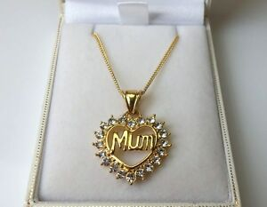 9ct Gold Plated CZ Mum Heart Pendant Necklace.