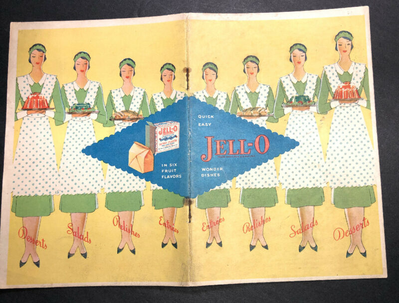 1930 Art Deco Jello Recipe Book Booklet Funky Kool Art 23 Pages Gelatin Food