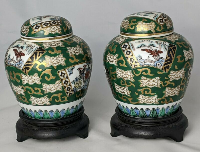 Pair of 2 Vintage Porcelain Imari Ginger Jars With Stands Imari Gold