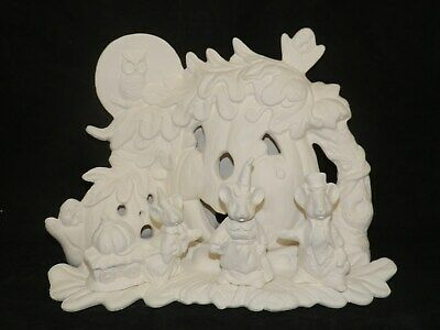 Pumpkin Scene with HALLOWEEN MICE Family LIGHT Up*Ceramic Bisque Ready to Paint](Halloween Scenes To Paint)