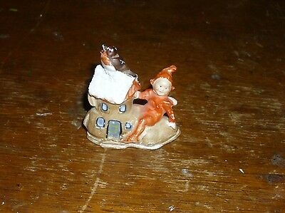 Antique German Bisque Snowbaby Snow baby  Elf Gnome Dwarf w/shoe house bird