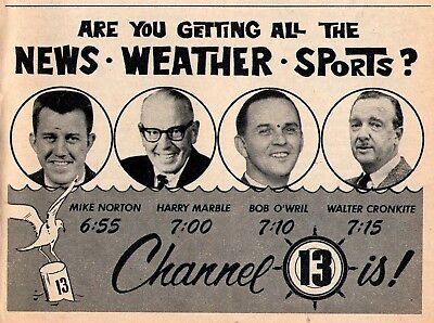 1963 Tv News Ad Mike Norton Harry Marble Bob Owril Channel 13 Weather   Sports